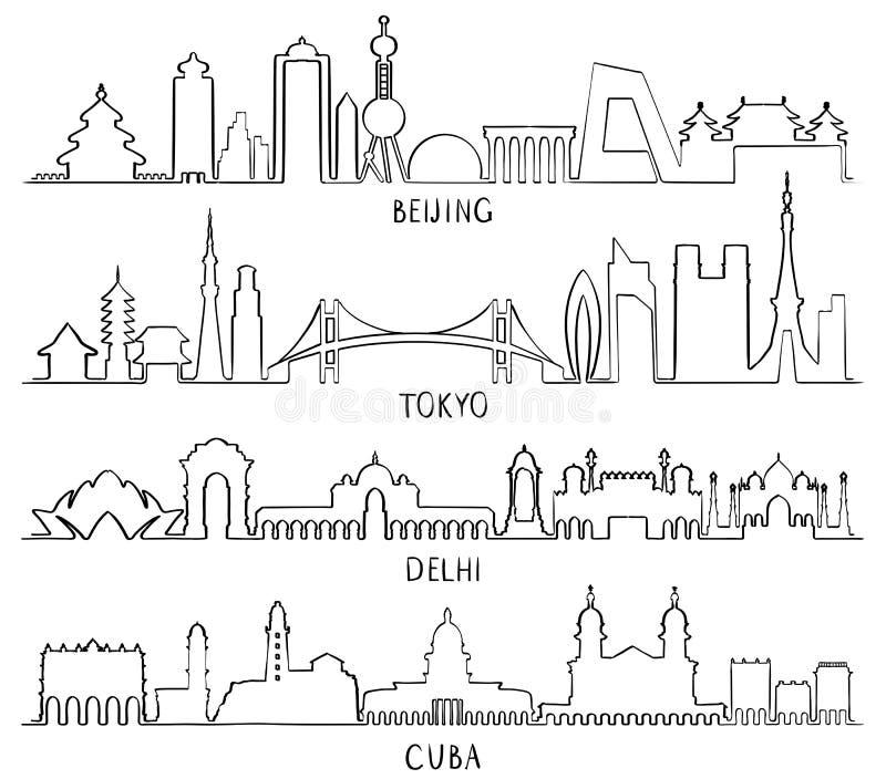 城市地标北京,东京,新德里,古巴 皇族释放例证