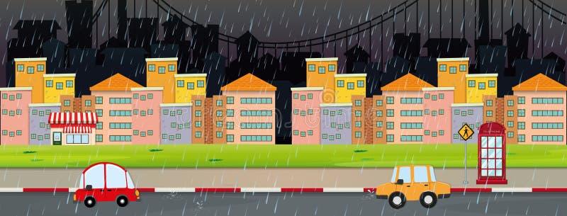 城市场面在晚上在rainny天 皇族释放例证