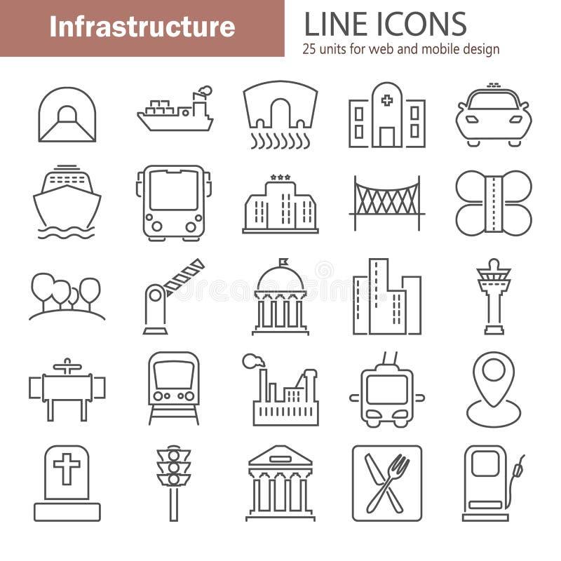 城市基础设施线为网和流动设计设置的象 向量例证