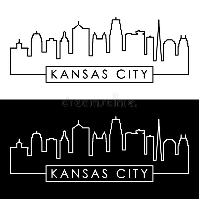 城市堪萨斯地平线 线性样式 库存例证