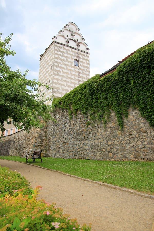 城市墙壁在塔博尔, Czechia,捷克 免版税库存照片