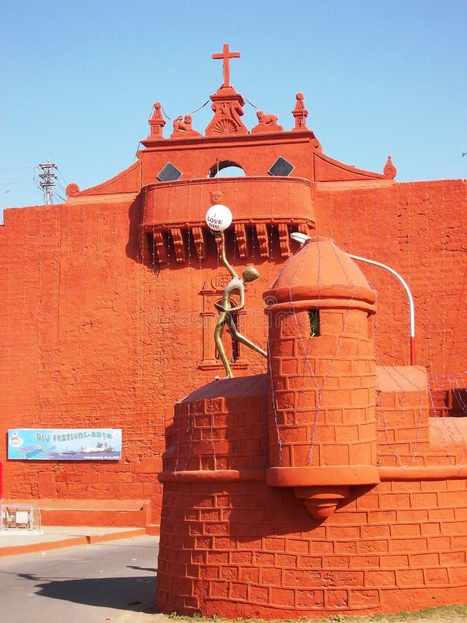 城市墙壁在Diu/印度 免版税图库摄影