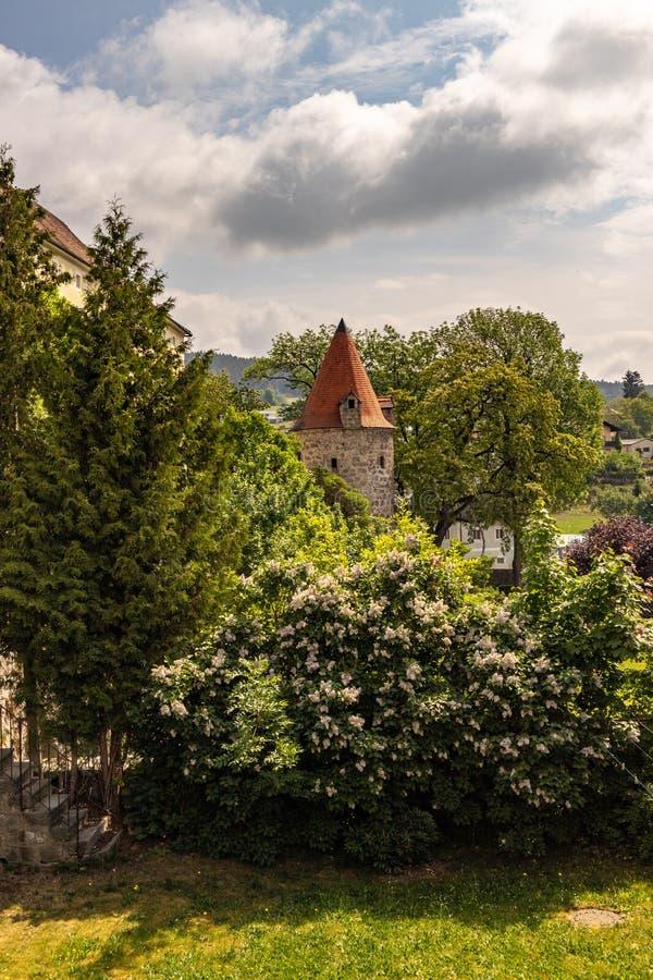 城市墙壁的塔在城市有绿色树的弗赖施塔特奥地利 库存照片