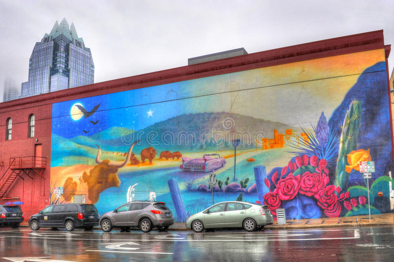 城市壁画在奥斯汀在得克萨斯 库存照片