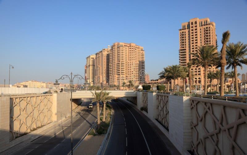 城市多哈高速公路珍珠 库存图片