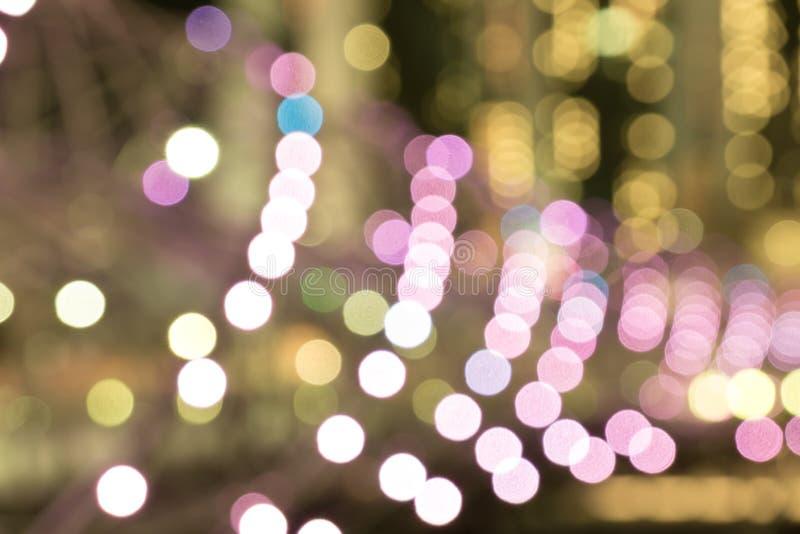 城市夜光弄脏了bokeh软的口气 免版税库存图片