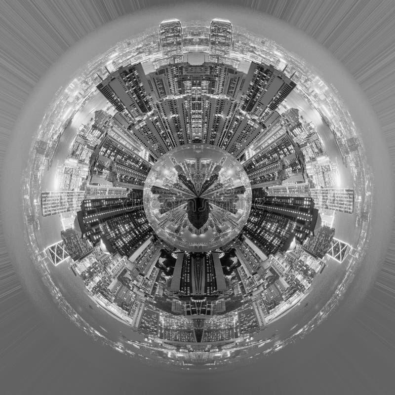 城市夜行星  库存例证