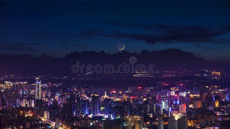 城市夜视图在福州,中国 免版税库存图片