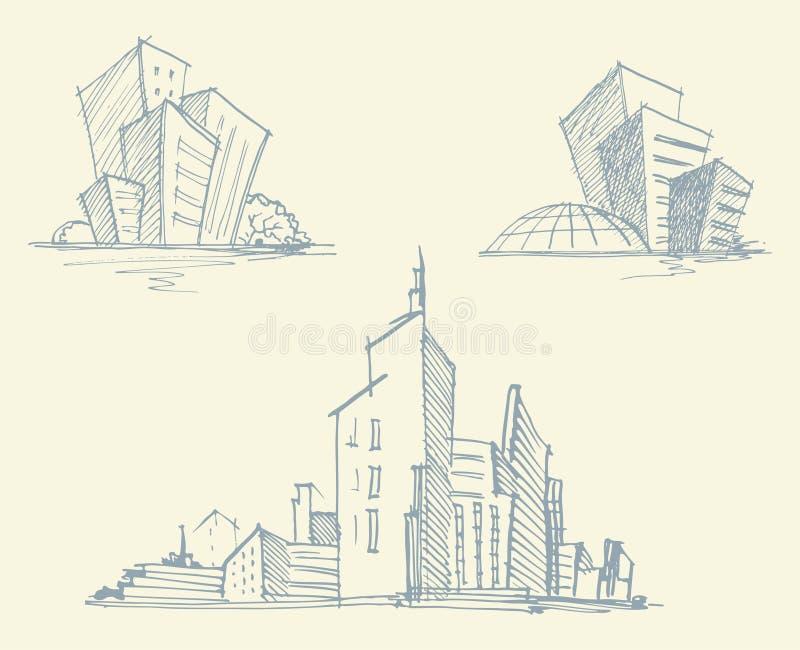 城市大厦剪影  也corel凹道例证向量 皇族释放例证