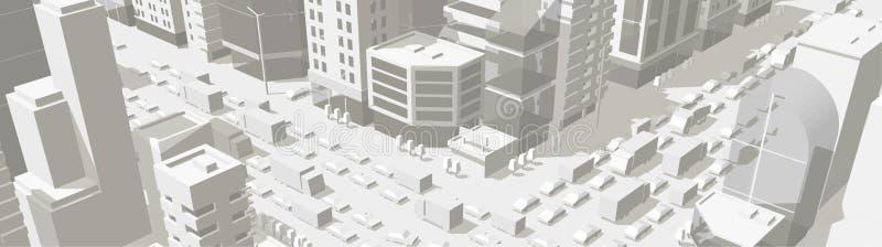 城市大厦在浅灰色的口气的背景街道 3d路交叉点 高细节城市投射视图 汽车结束大厦 皇族释放例证