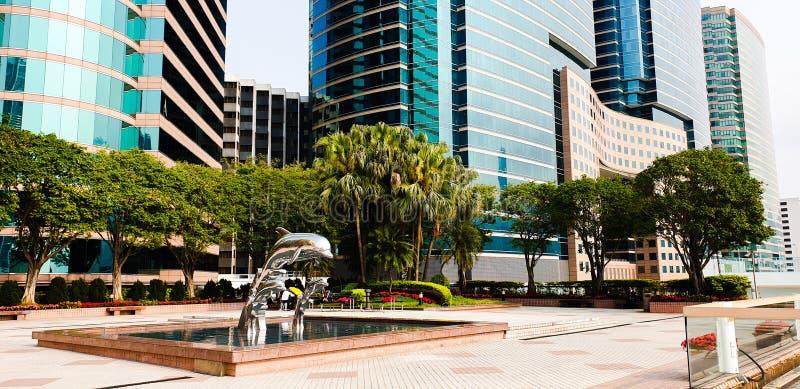 城市大厦的室外公园 库存照片