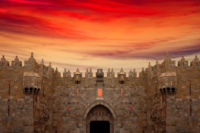城市大马士革门老耶路撒冷 免版税库存照片
