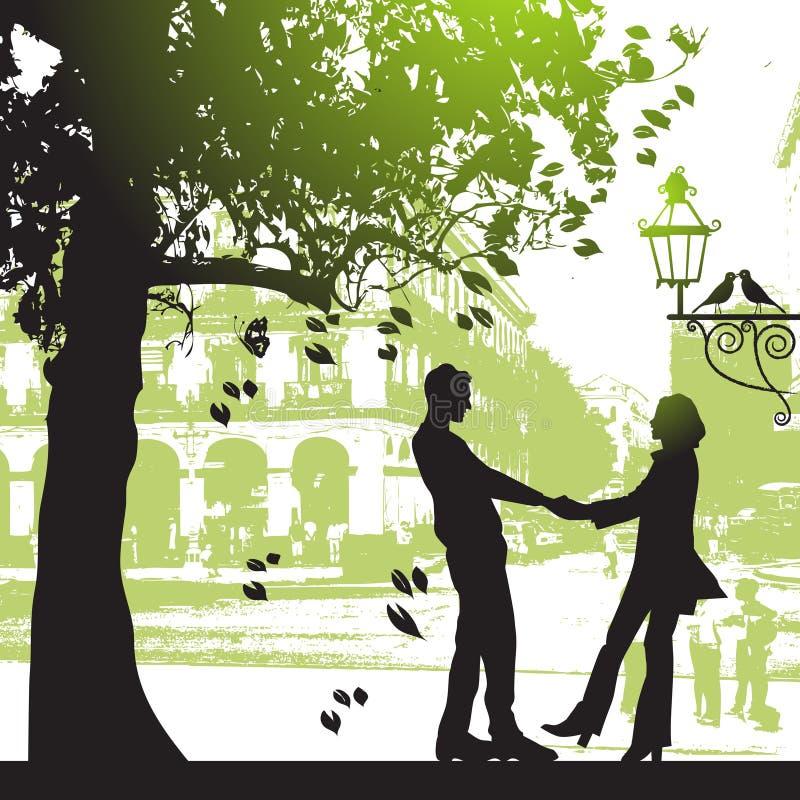 城市夫妇停放结构树下 向量例证