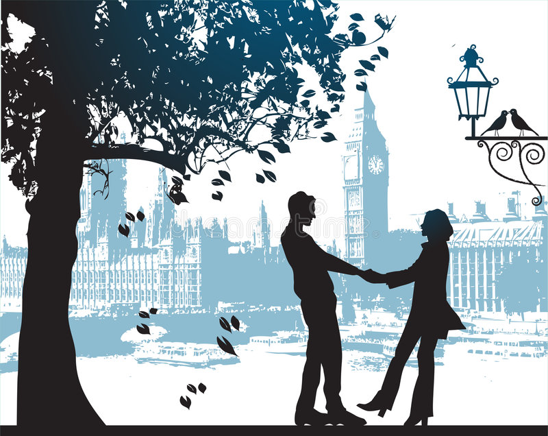 城市夫妇停放结构树下 库存例证