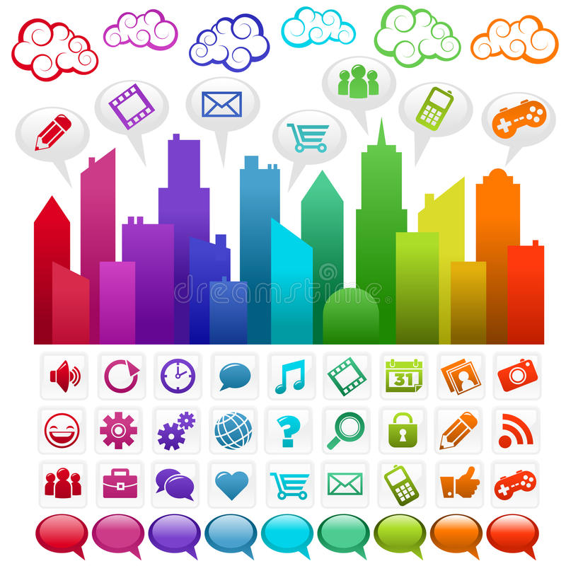 城市媒体彩虹社交 向量例证