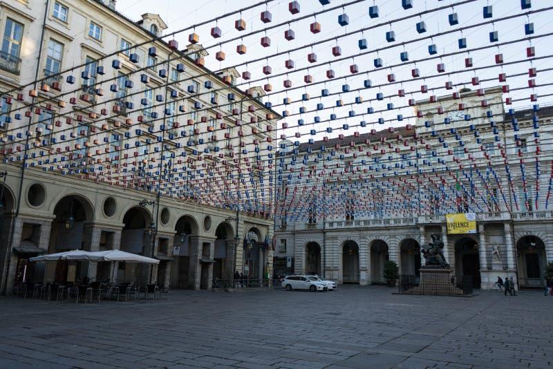 城市宫殿正方形看法在都灵,山麓-意大利 图库摄影