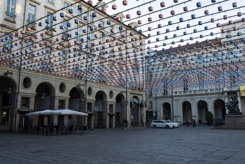 城市宫殿正方形看法在都灵,山麓-意大利 库存照片