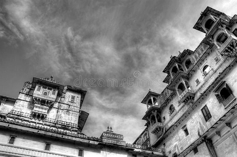 城市宫殿udaipur,拉贾斯坦,印度, hdr 免版税图库摄影