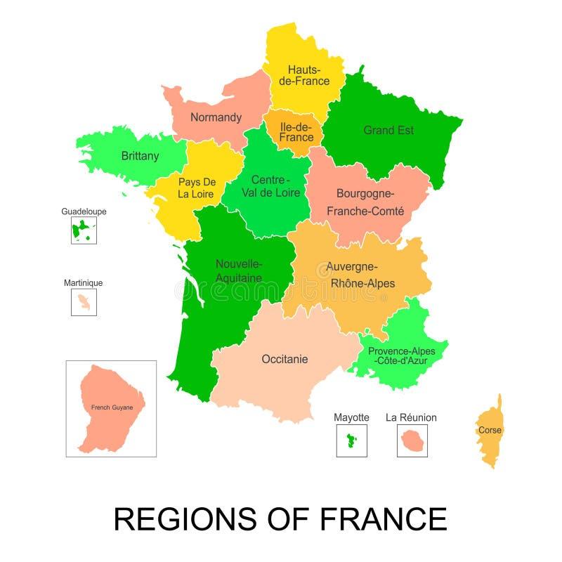 城市居民法国地区交互式地图与5个国外地区的 皇族释放例证