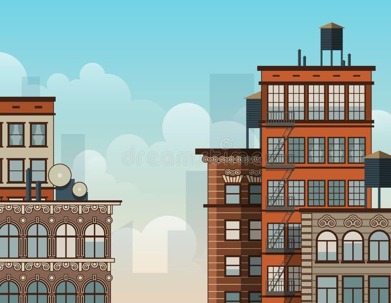 城市屋顶例证 向量例证