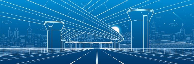 城市建筑学和基础设施例证,汽车天桥,大桥梁,都市场面 城市拉脱维亚晚上里加城镇 在蓝色的空白线路 向量例证