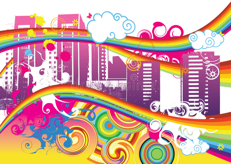 城市彩虹打旋 向量例证
