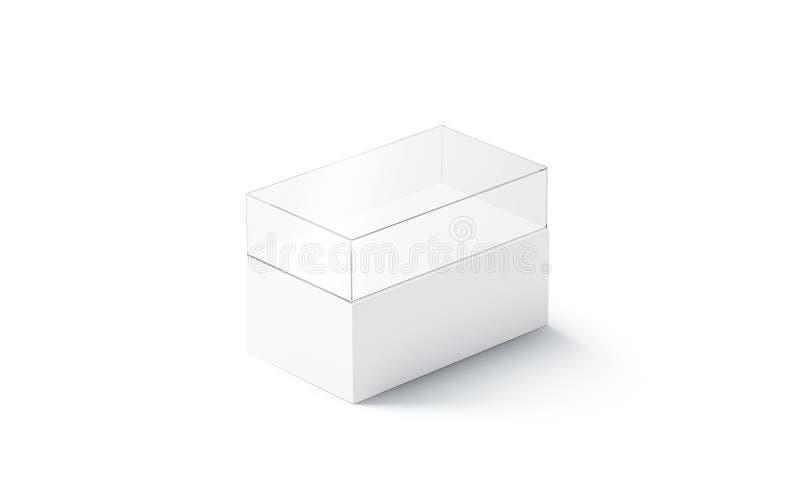 城市微型大模型的空白白色玻璃陈列室,被隔绝 皇族释放例证