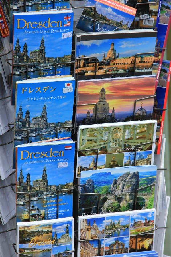 城市德累斯顿指南和明信片在德国 库存照片