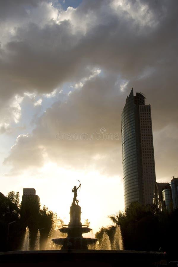 城市戴安娜喷泉墨西哥 免版税库存照片