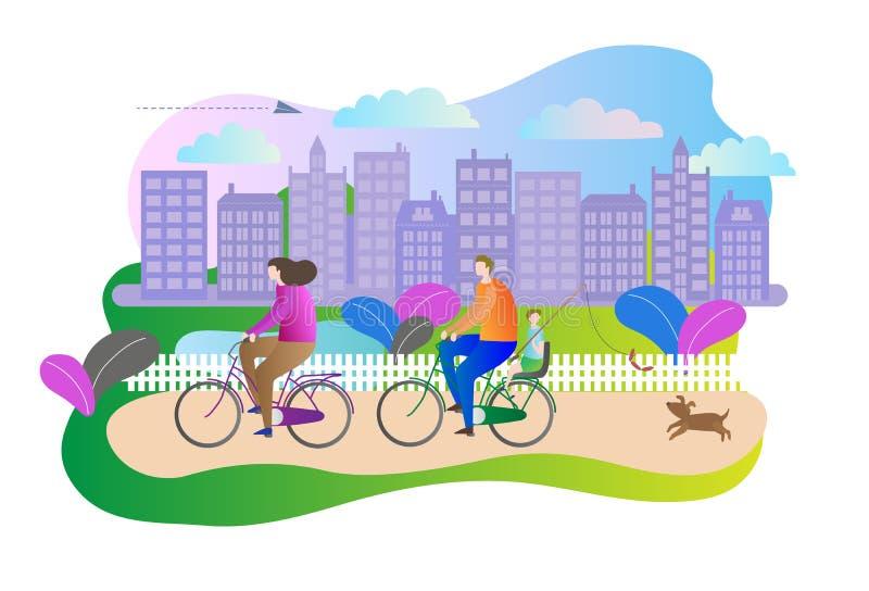 城市户外家庭观念停放与享受活跃休闲的夫妇的场面,当驾驶在自行车时 也corel凹道例证向量 库存例证