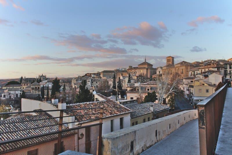 城市托莱多,西班牙Scape视图  免版税库存照片