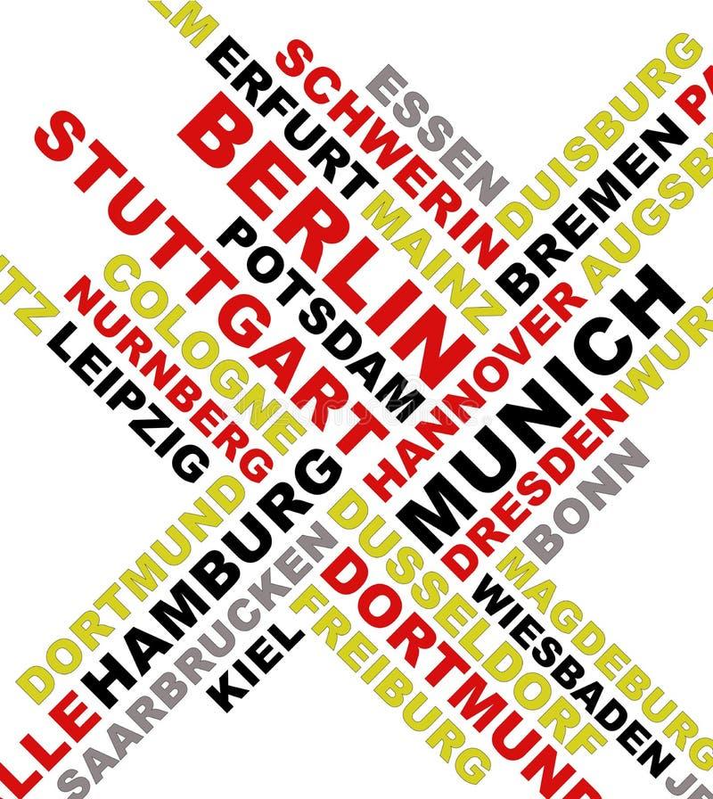 城市拼贴画德国名字 库存例证