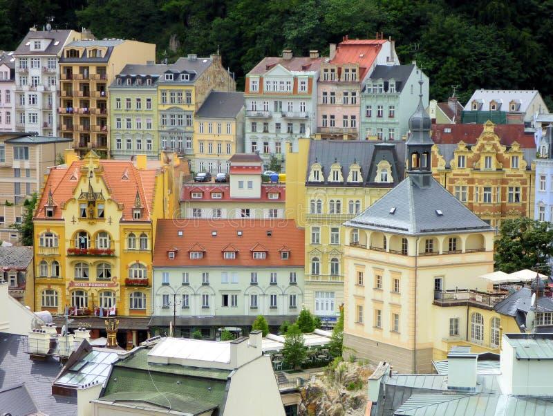 城市捷克karlovy共和国塔变化视图 免版税库存图片