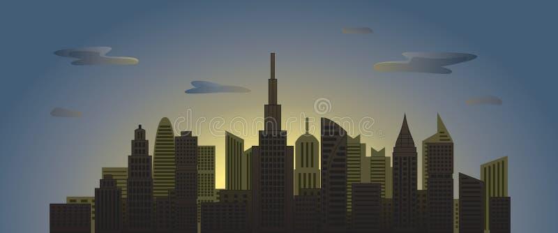 城市摩天大楼在与云彩的黎明在天空 图库摄影