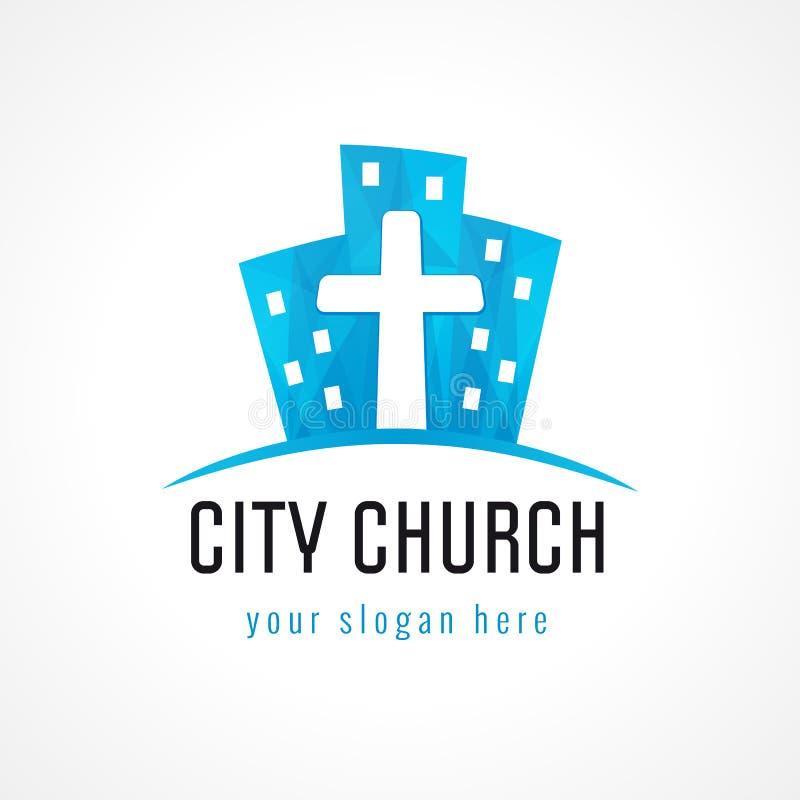 城市教会商标 向量例证