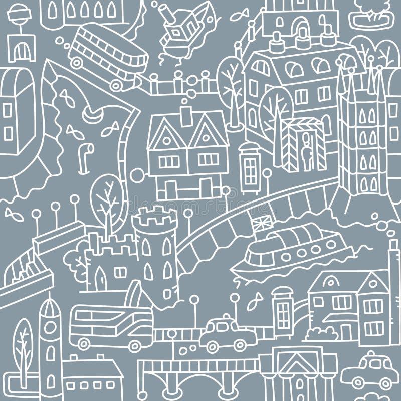 ?? 城市无缝的样式路,房子,河 库存例证