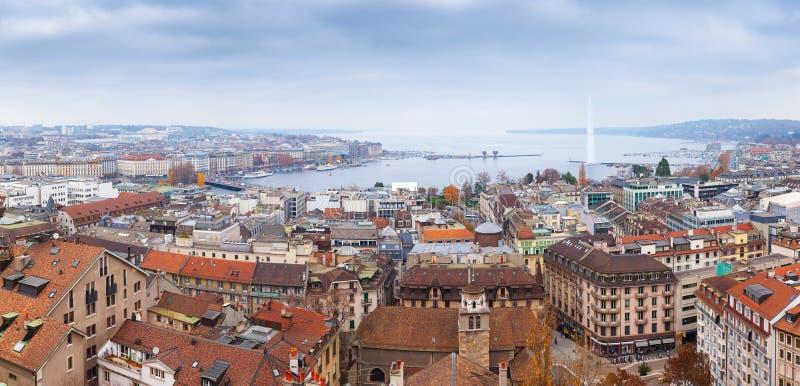 城市日内瓦瑞士 全景的都市风景 免版税库存图片