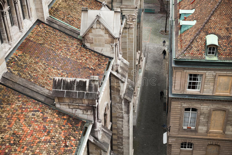 城市日内瓦瑞士 老都市风景 免版税库存照片