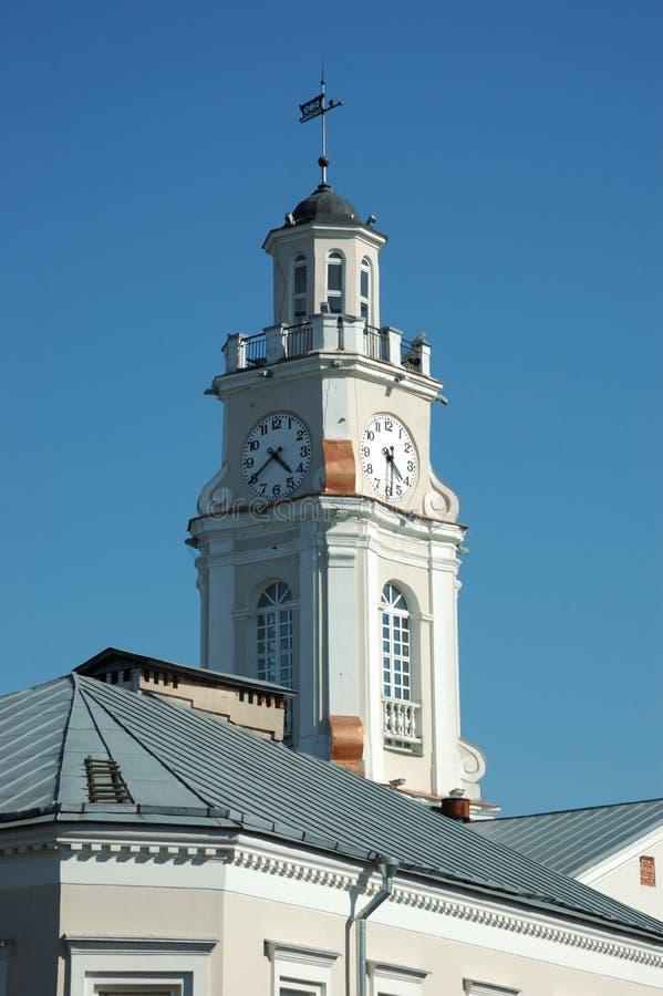 城市时钟大厅塔维帖布斯克 免版税图库摄影