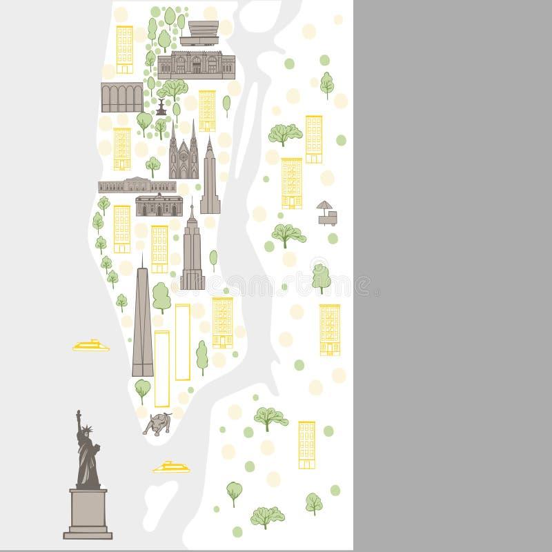 城市映射纽约 也corel凹道例证向量 库存例证