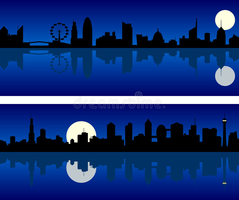 城市晚上地平线 库存例证