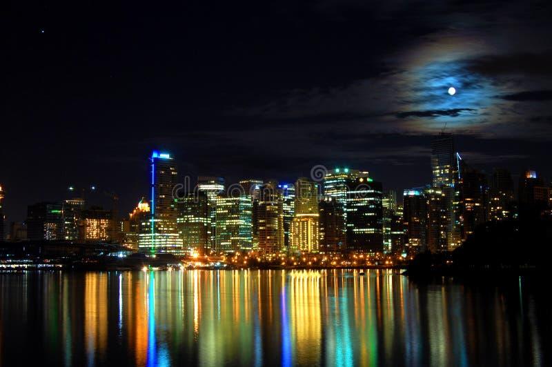 城市晚上射击地平线温哥华 免版税库存照片