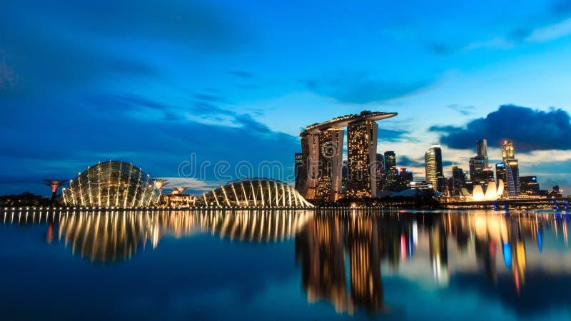 城市晚上新加坡 库存照片