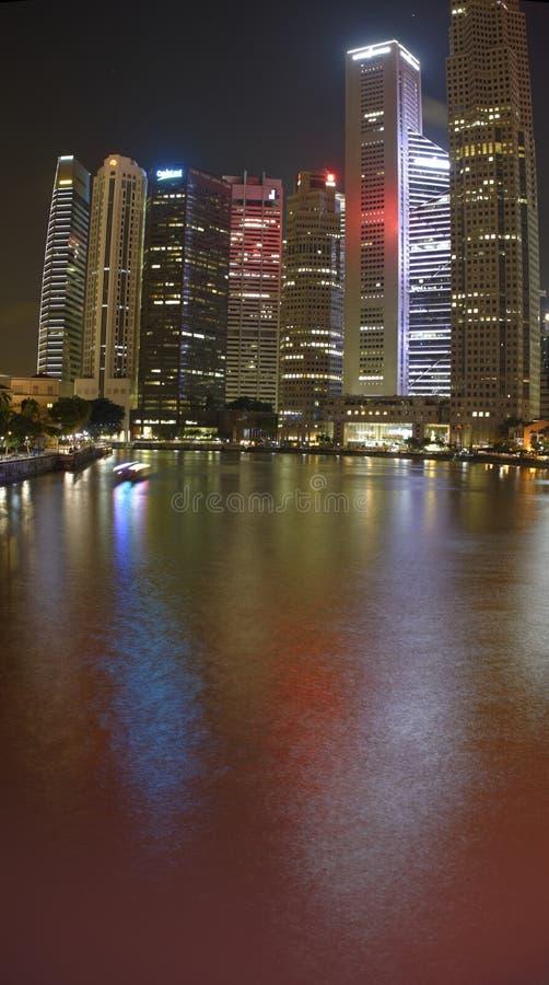 城市晚上新加坡 免版税库存照片