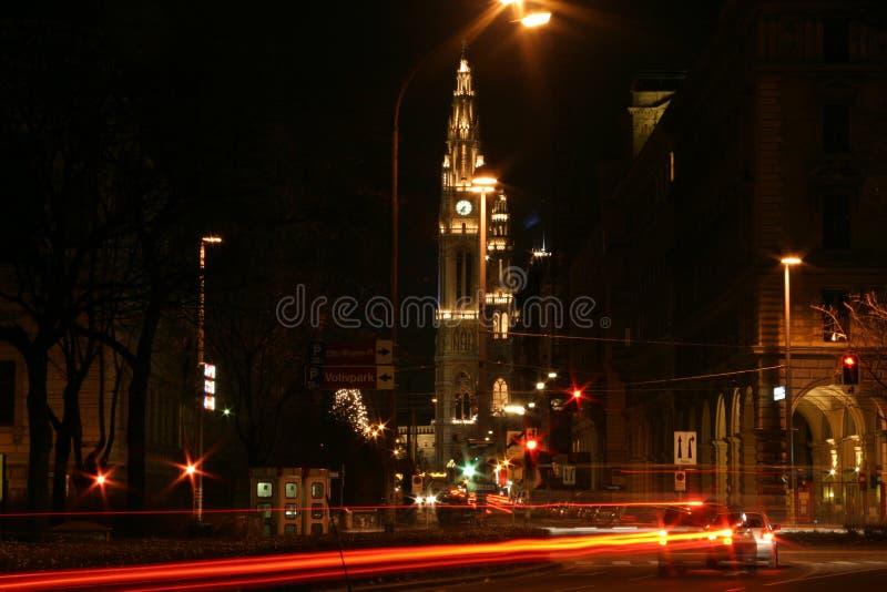 城市晚上维也纳 图库摄影