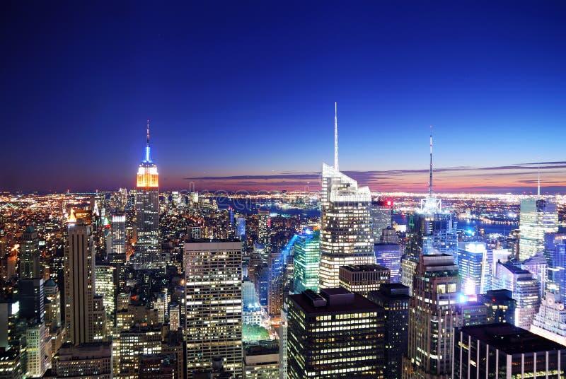 城市曼哈顿新的地平线日落约克 库存照片
