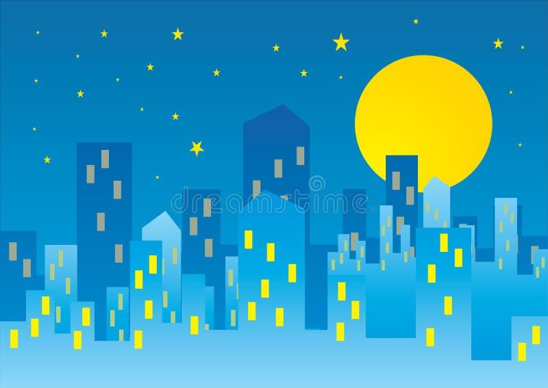 城市月亮 向量例证
