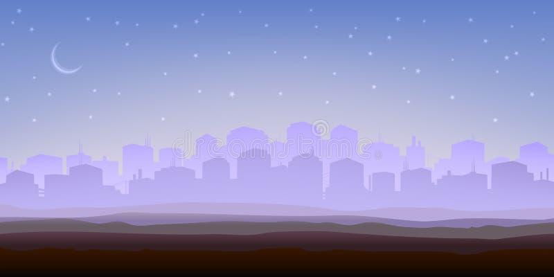 城市有雾的早晨全景 皇族释放例证