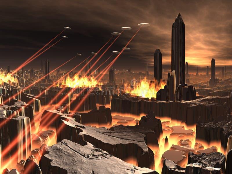 城市未来派入侵飞碟 向量例证