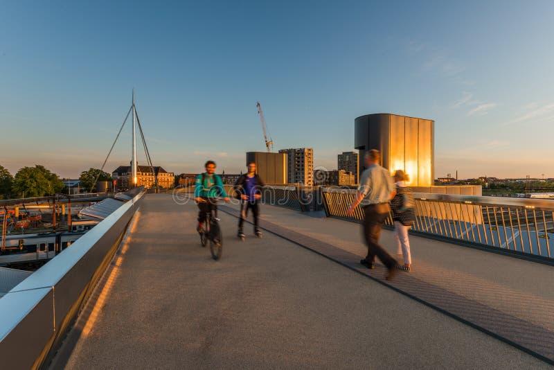 城市桥梁在欧登塞,丹麦 免版税库存照片